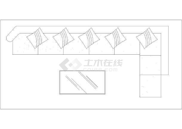 建筑室内装修设计沙发组合及床平立面图cad汇总图片