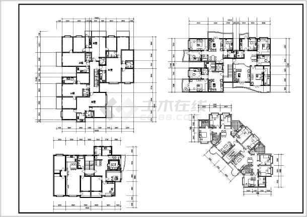 图纸 建筑图纸 居住建筑 户型图 转角户型平面图图纸大全    价格: 80