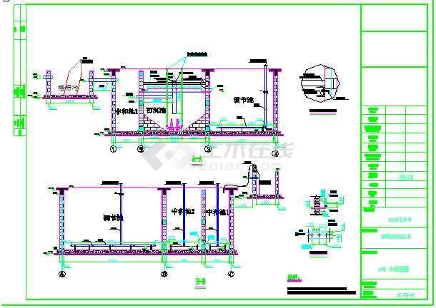 e-e,f-f剖面图 ,二沉池安装图 ,污泥浓缩池安装图 ,风机,压滤机安装