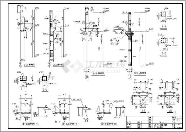 砼柱-双弧厂房长度钢管结构图(含v厂房计算)_cacad桁架说明总如何图片