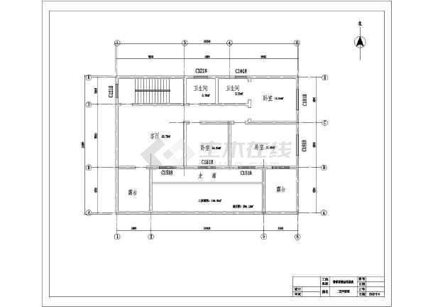 二层带露台简单农村房屋建筑设计图(含结构)cad图纸编号怎么显示图片