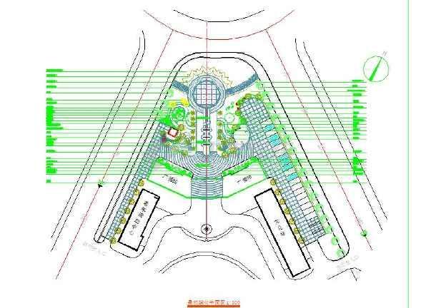 某广场园林景观设计绿化平面图