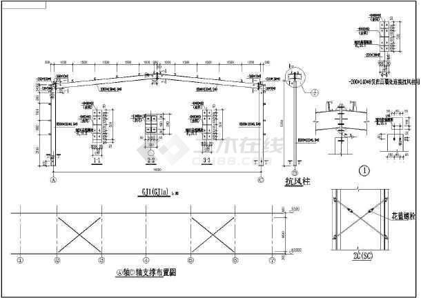 包含结构,基础平面布置图,预埋布置图,屋面结构布置图,支撑图,剖面图