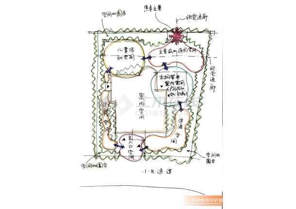 欧式别墅园林设计手绘图图片2