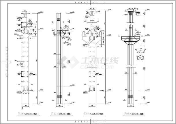 金属加工厂单层混凝土柱排架结构施工图纸