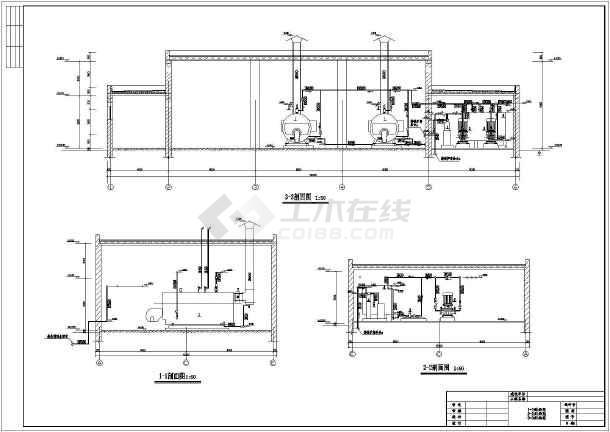 某燃气两台图纸锅炉房设计施工布局_cad比例cad置空间学校中设图纸图纸图片