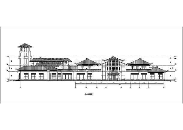 某地两层框架结构坡屋顶中式会所建筑设计方案图纸