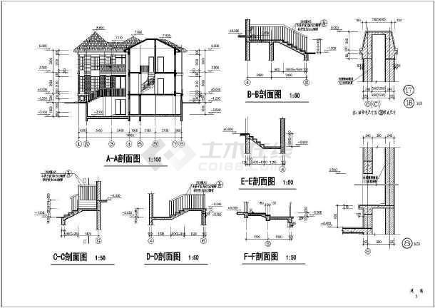 某地两层框架结构别墅建筑施工图纸