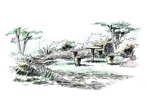展厅手绘效果图 景观小品手绘效果图  所属分类:手绘图 园林景观效果