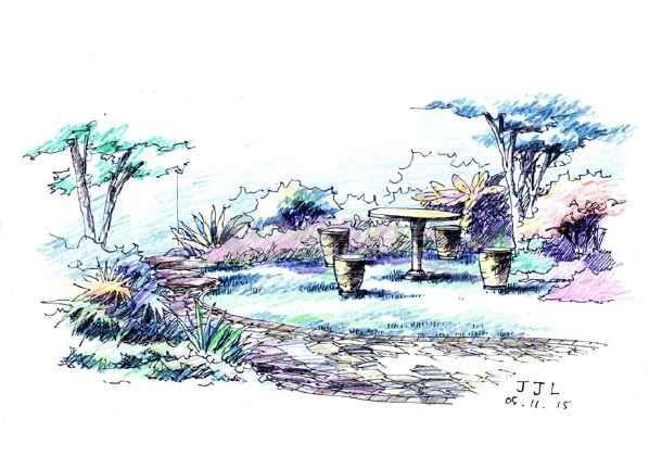 景观小品手绘效果图