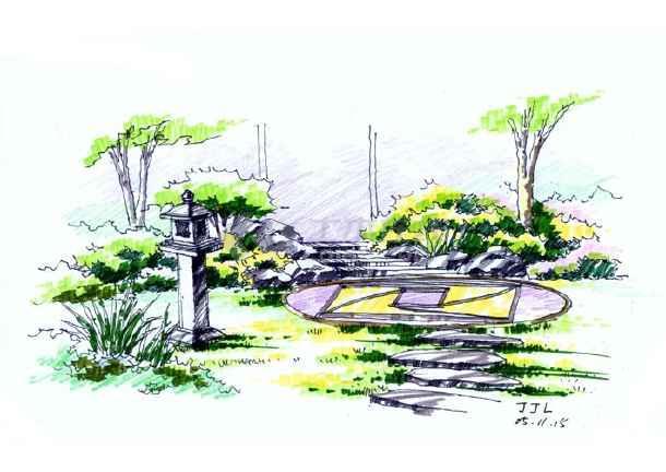 景观手绘效果图展厅手绘效果图景观小品手绘效果图