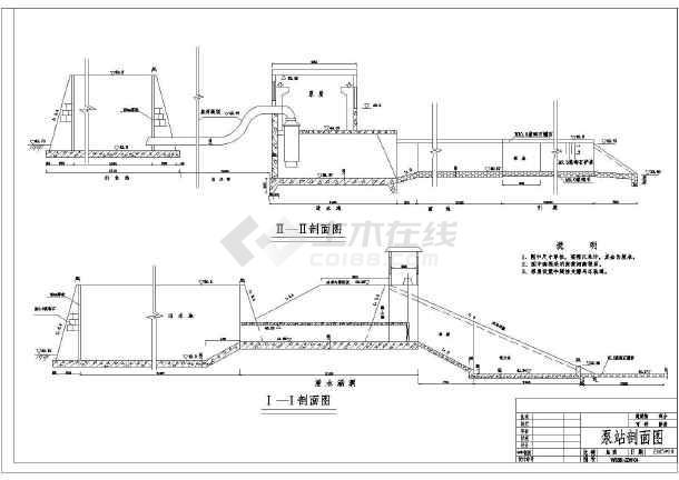 补充说明:本套图纸主要是设计了平原水库抽水泵站的平面布置以及结构图的设计,总共有2张图纸,其中主要是包括了提水泵站的平面布置图,以及相应的纵断面的设计图纸,经过相应的出水池的设计经过相应的导管,然后经过进水渠以及相应的引渠的设计,采用的是M5.0浆砌石,衬砌的厚度是8cm的设计,设计了相应的启闭设备设计,在设计上对平面的布置分水是比较有利的,希望大家下载。 相关专题: