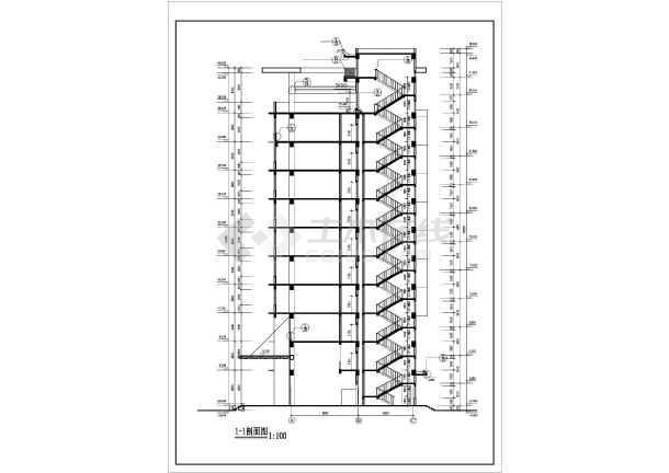 十层框架结构办公楼建筑设计方案图