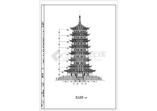 某地七层框架结构仿古宝塔建筑设计施工图