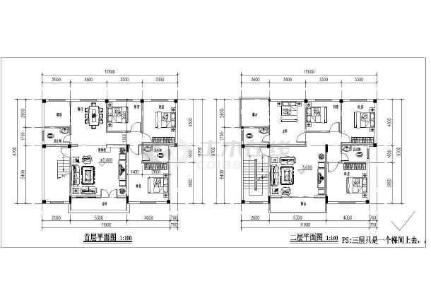 图纸 建筑图纸  别墅图纸  别墅设计图  农村2层混凝土框架结构房屋