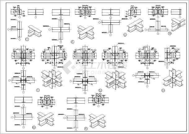 2层钢框架结构三菱汽车4s展厅结构施工图,图纸包括:基础结构平面图,基