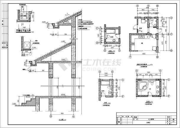某地两层坡屋顶别墅建筑设计施工图图片