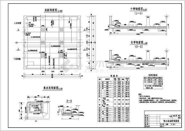 清水池施工图阶段结构及钢筋设计图