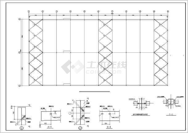 本图纸为某钢结构车间施工图纸(含材料表),内容包括:系杆与钢梁连接