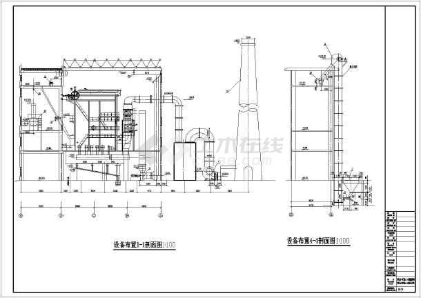 某地区35t燃气锅炉图纸尺寸a4全套标准图框图纸图片