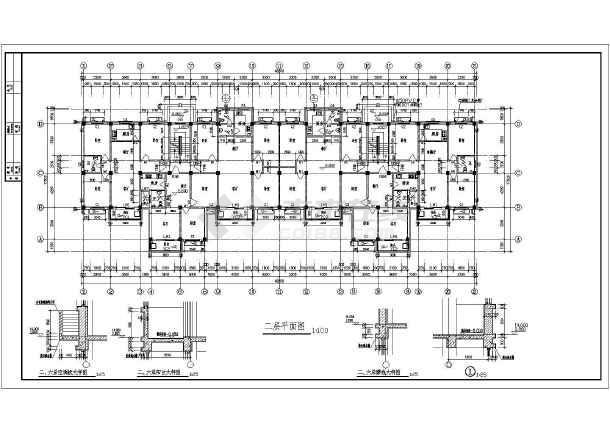 6层2单元每单元3户住宅楼建筑设计图