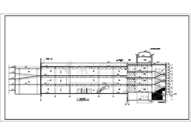 层框架结构宾馆楼建筑设计方案图,局部三层,图纸内容包含:各层平面图
