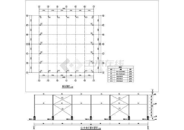 基础详图,钢柱布置图,屋面结构布置图,支撑图,剖面图,布置图等.