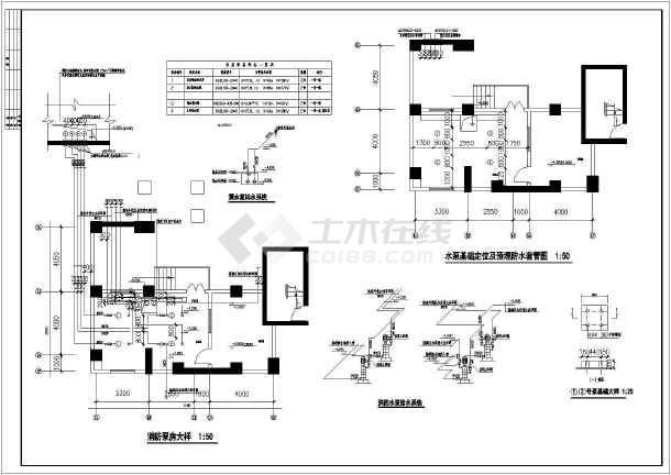 某小区高层住宅楼内水泵房给排水设计图