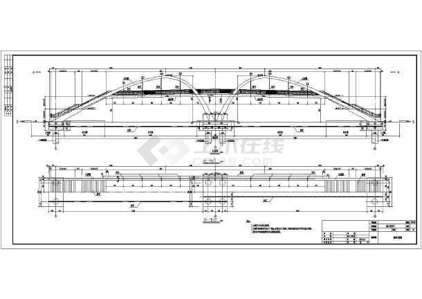 某市中承式拱桥施工设计图(钢结构)