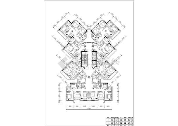 某工程一梯多户高层住宅户型平面布置图