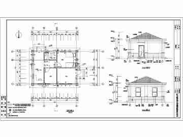 某地1层欧式风格小区大门设计建筑专业施工图