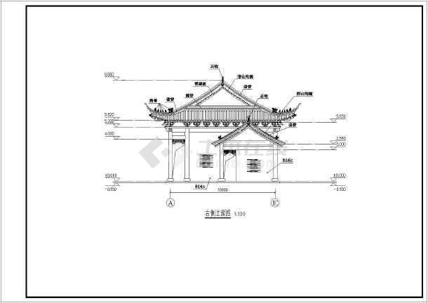 某地上一层框架结构寺庙建筑设计方案图图片