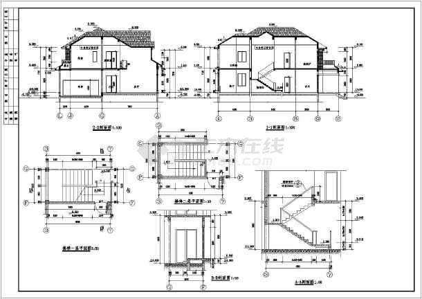 东入口二层框架结构独立式别墅建筑施工图