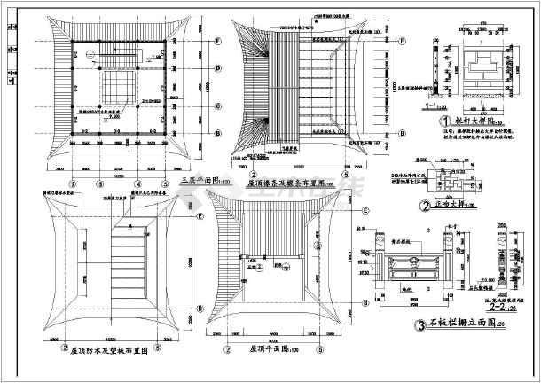 大型古建筑文昌阁详细建筑设计施工图