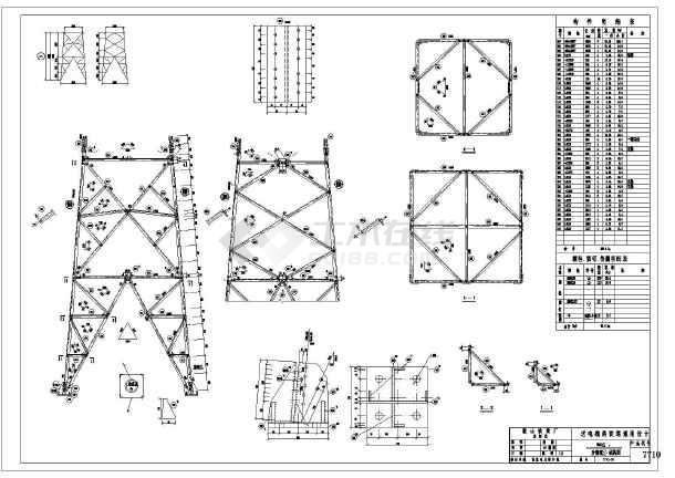 某地35607710-3560JJ2结构塔图纸施工图cad边框角钢线图片