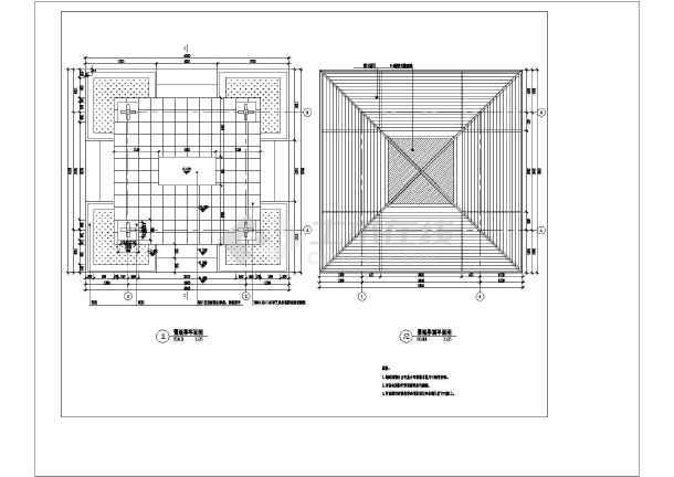 某景观亭平面剖面结构布置及钢筋图