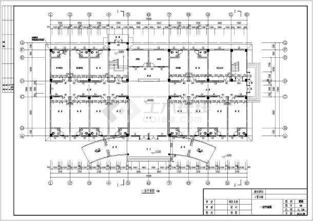 该工程为湖南省某地三层框架结构医院住院楼建筑设计施工图纸,该图纸图片
