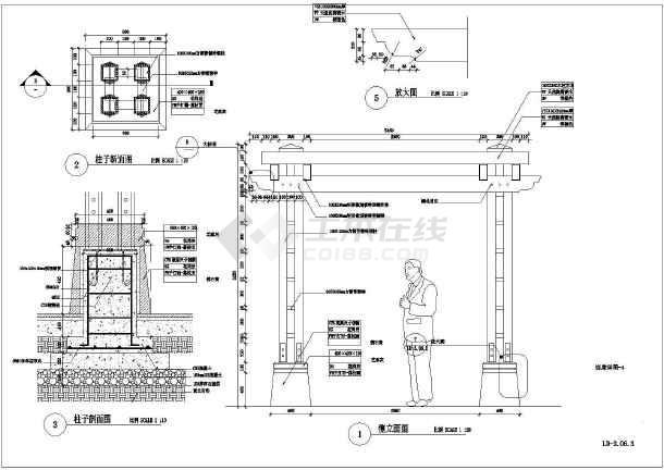 景观廊架,包括连廊平面图
