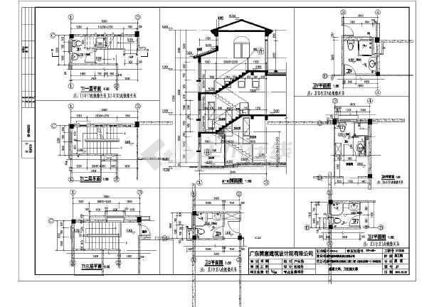 湖北碧桂园茶韵三层双拼别墅完整建筑施工图