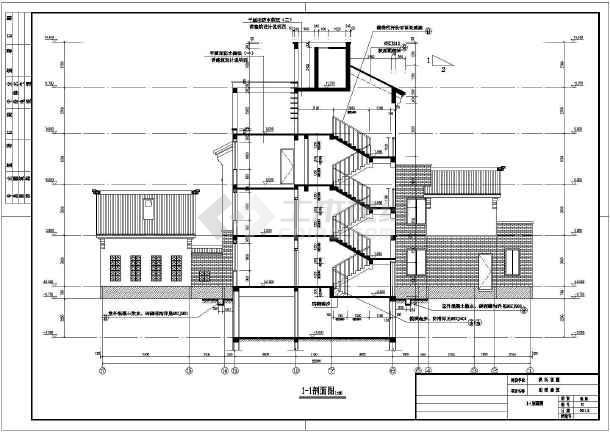 某地三层框混结构中式别墅建筑设计方案图纸
