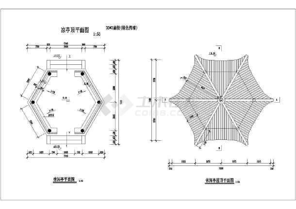 中式传统风格六角亭设计方案,图纸包括休闲六角亭的立面图,平面图,亭