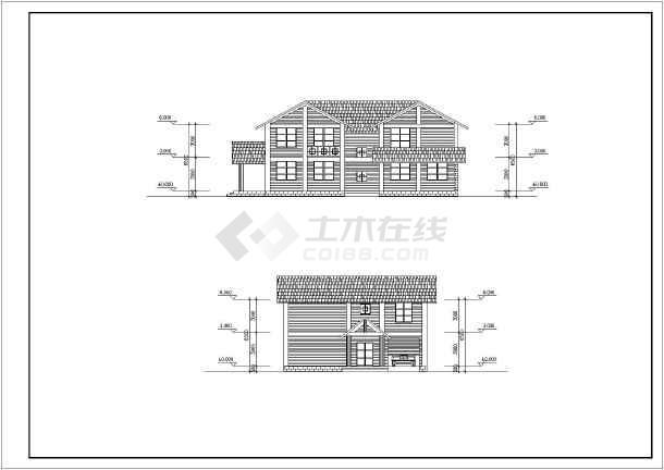 某二层木结构别墅建筑设计图(长17.1米 宽12.6米)