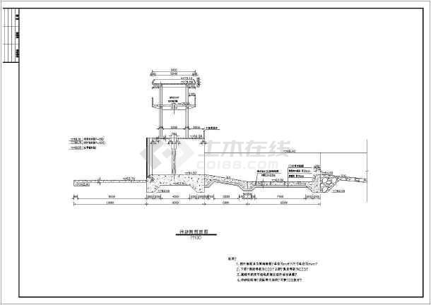 电站厂房水轮机层平面图,翻板闸坝剖面图,防洪堤,墙标准断面图,进水闸