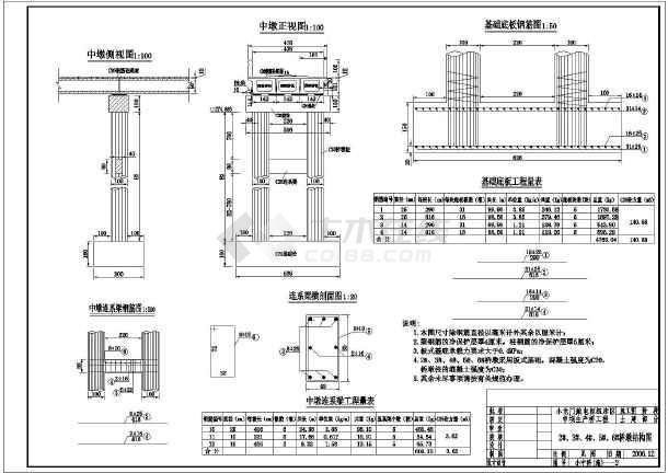 圖紙 水利工程設計圖 公路橋梁 橋梁工程 某處的交通橋施工圖階段的