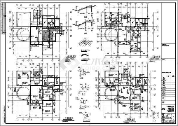 某地三层框架结构别墅结构设计施工图
