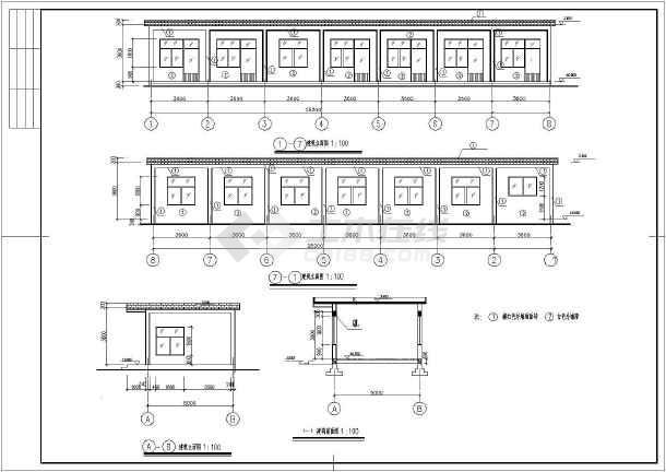 某单层平房办公室建筑,结构施工图