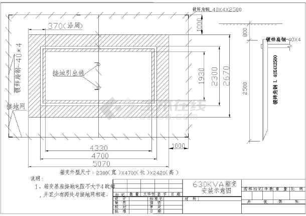 630kva欧式箱变平面布置图,基础图及接地图