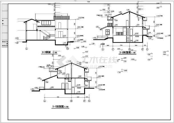 山东某两层带地下室别墅楼建筑设计施工图图片