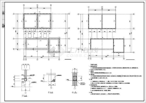 某地一层木结构四合院式厕所建筑结构设计方案图纸