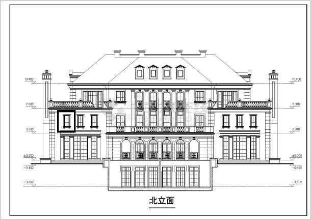 某地三层法式双拼别墅建筑设计方案图纸